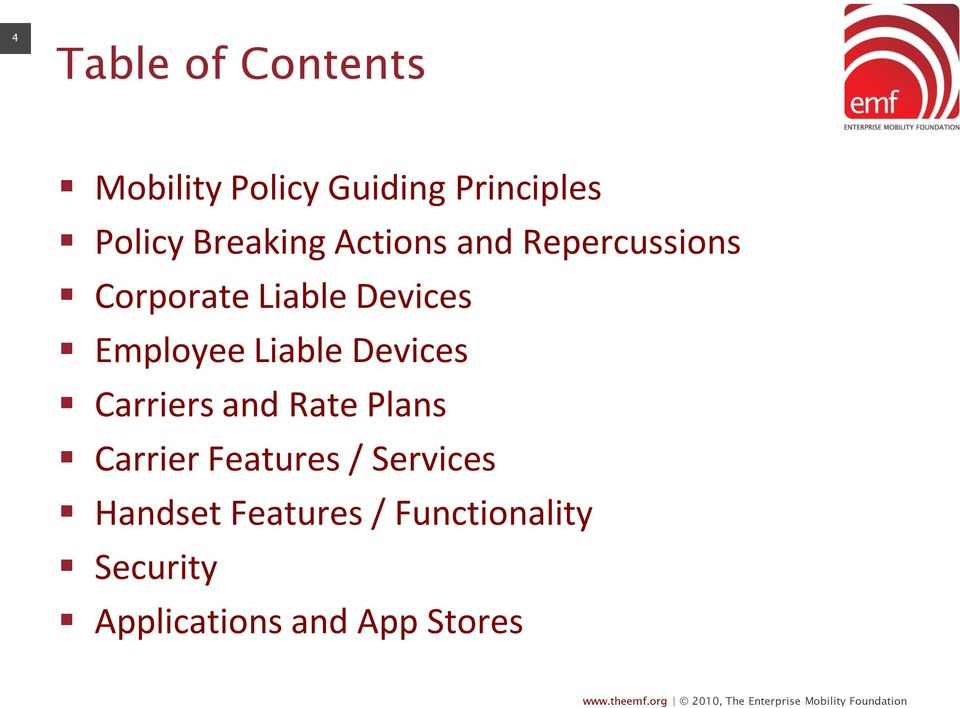 Employee Liable Devices Carriers and Rate Plans Carrier Features /
