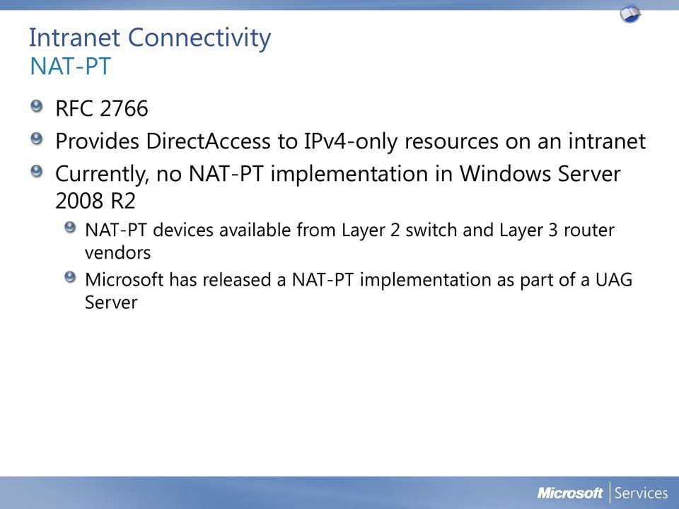 Server 2008 R2 NAT-PT devices available from Layer 2 switch and Layer 3