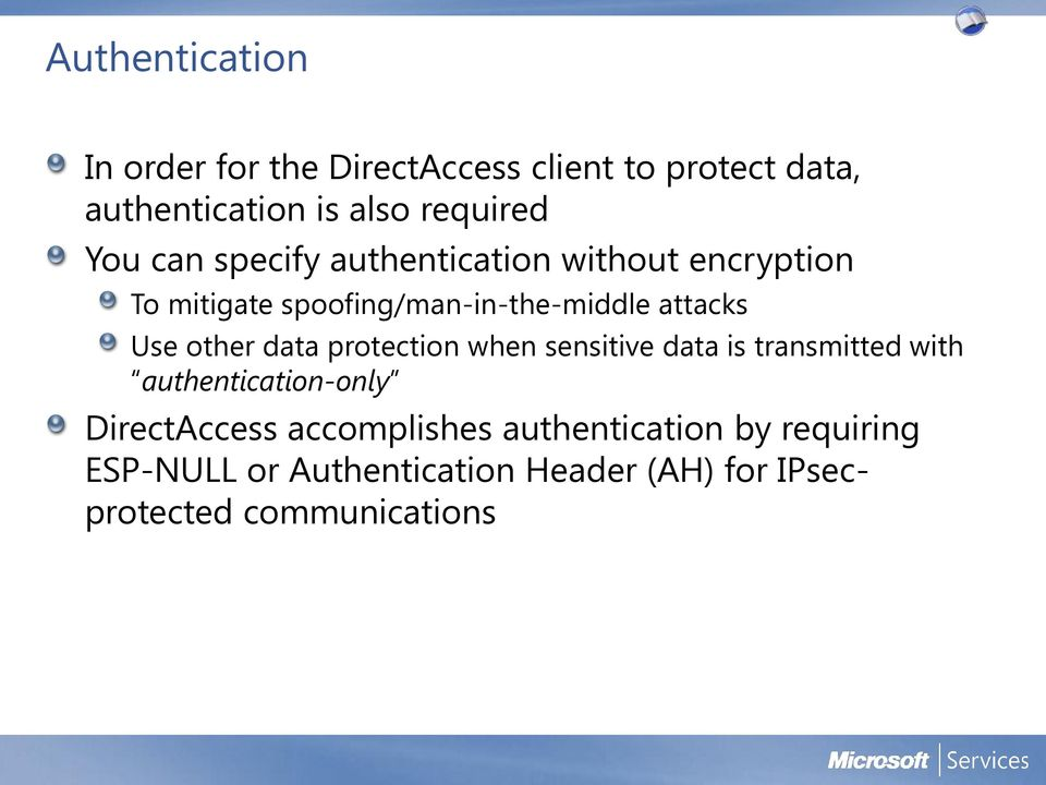 other data protection when sensitive data is transmitted with authentication-only DirectAccess
