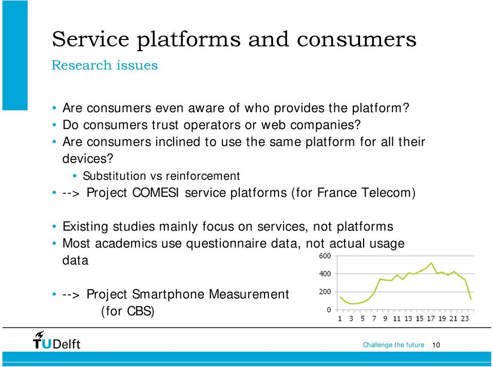 Substitution vs reinforcement --> Project COMESI service platforms (for France Telecom) Existing studies mainly focus