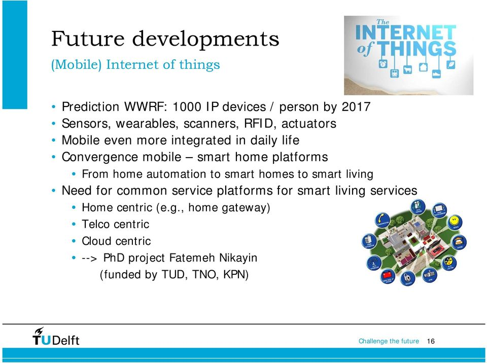 platforms From home automation to smart homes to smart living Need for common service platforms for smart living