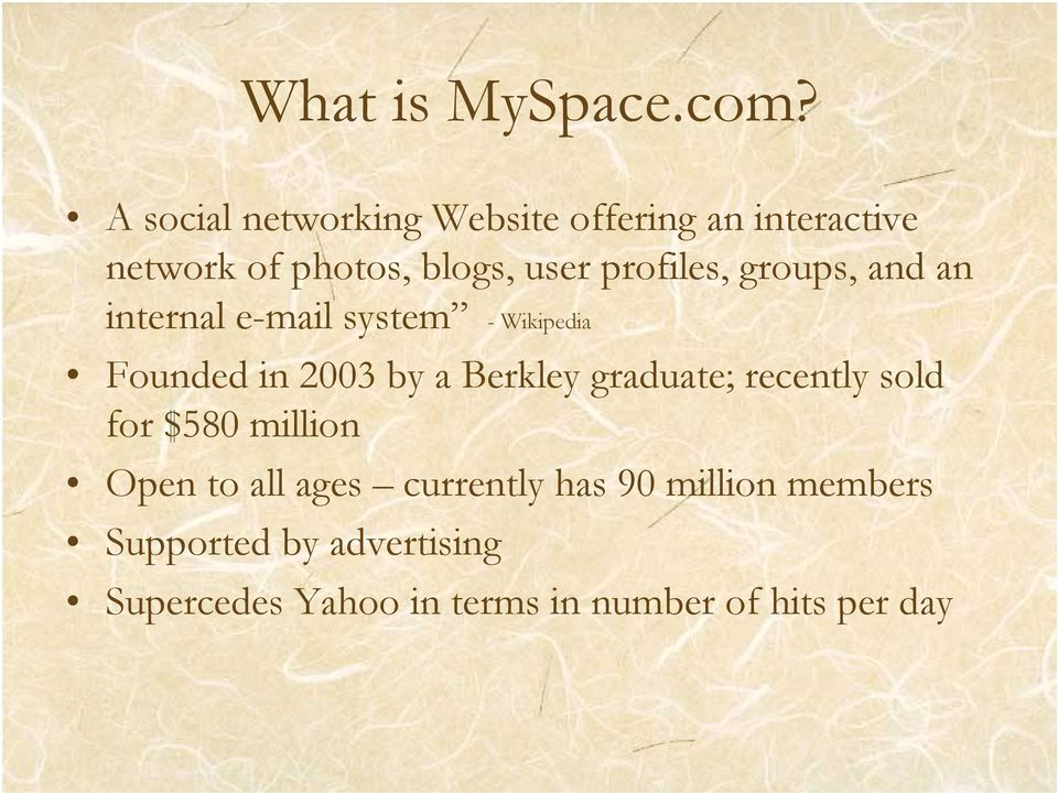 profiles, groups, and an internal e-mail system - Wikipedia Founded in 2003 by a Berkley