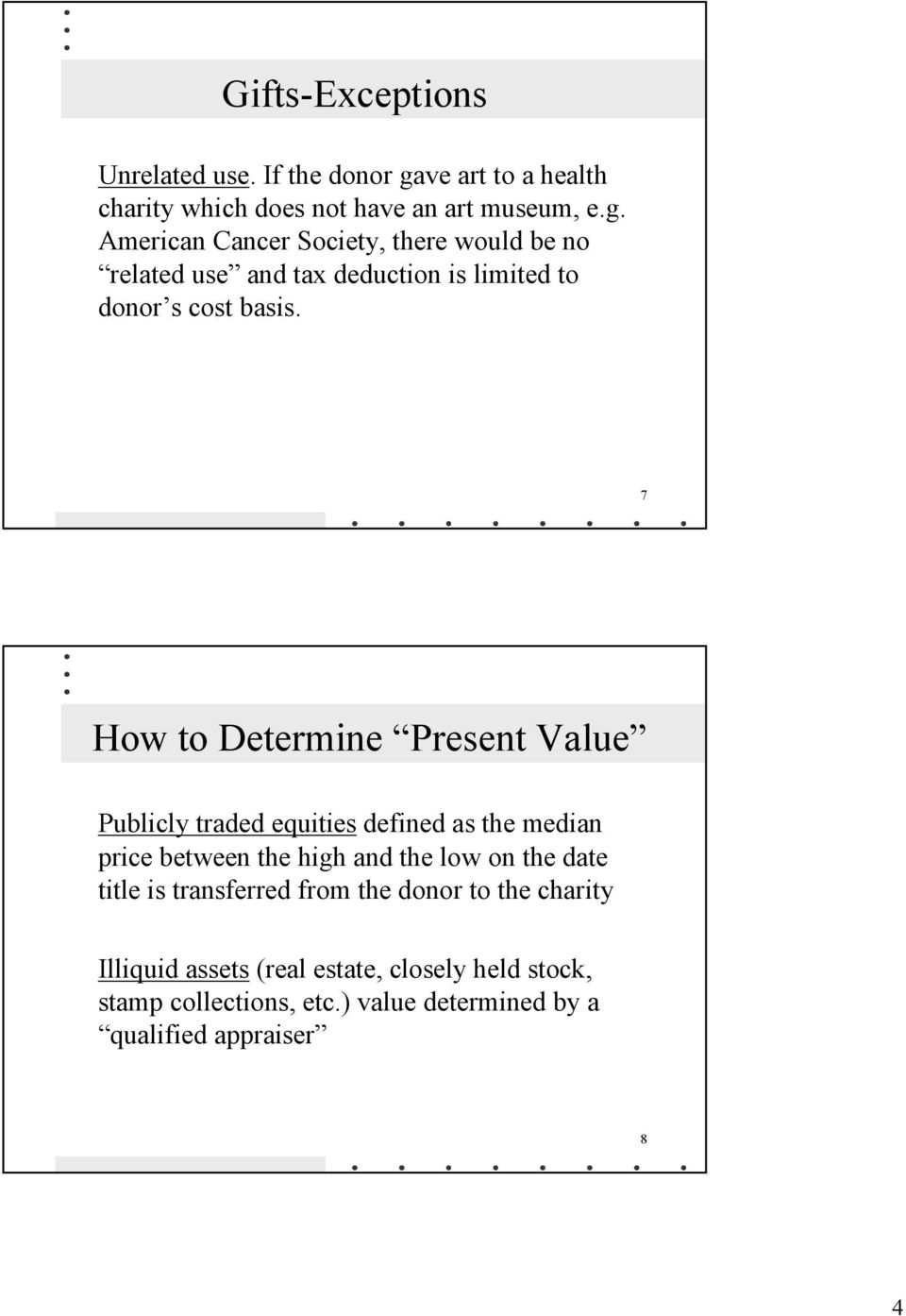 American Cancer Society, there would be no related use and tax deduction is limited to donor s cost basis.
