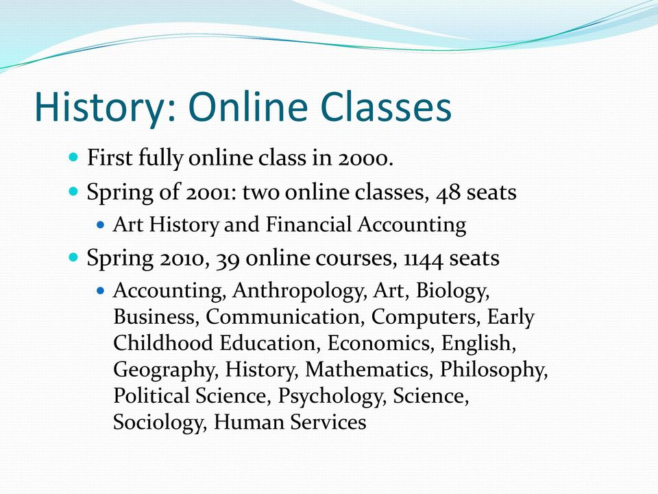 online courses, 1144 seats Accounting, Anthropology, Art, Biology, Business, Communication, Computers,