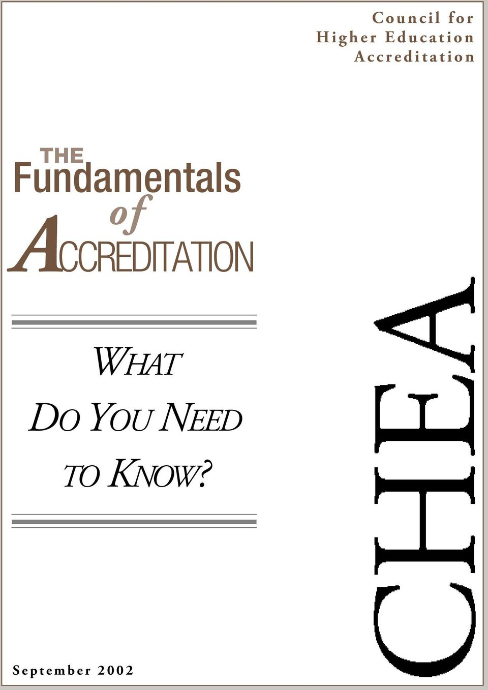 Fundamentals of ACCREDITATION