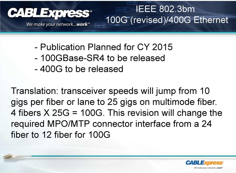 released - 00G to be released Translation: transceiver speeds will jump from 0