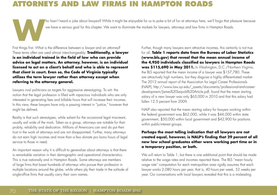 We want to illuminate the markets for lawyers, attorneys and law firms in Hampton Roads. First things first. What is the difference between a lawyer and an attorney?