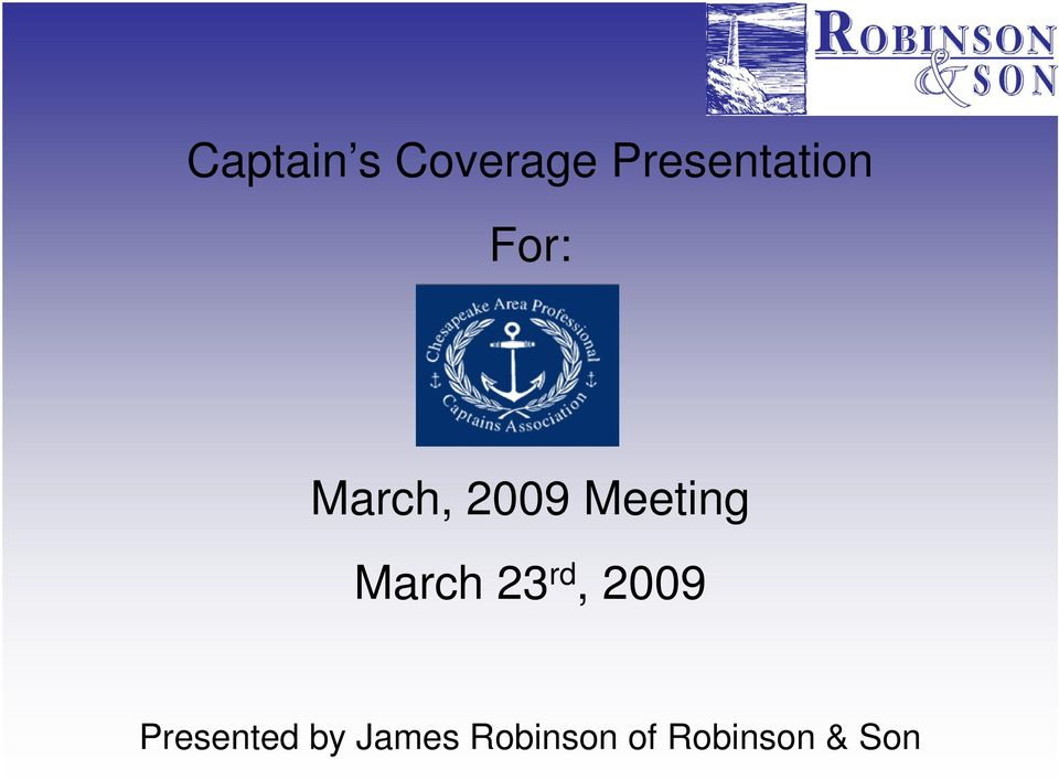 Meeting March 23 rd, 2009