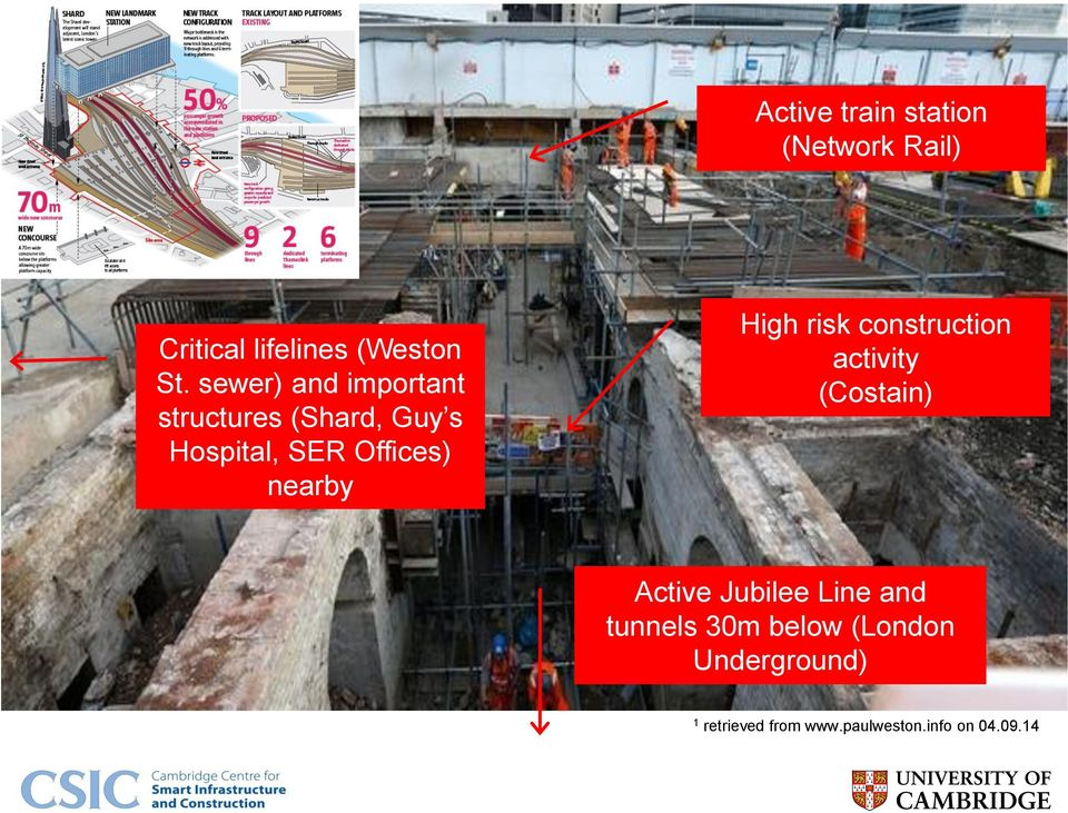nearby High risk construction activity (Costain) Active Jubilee Line and