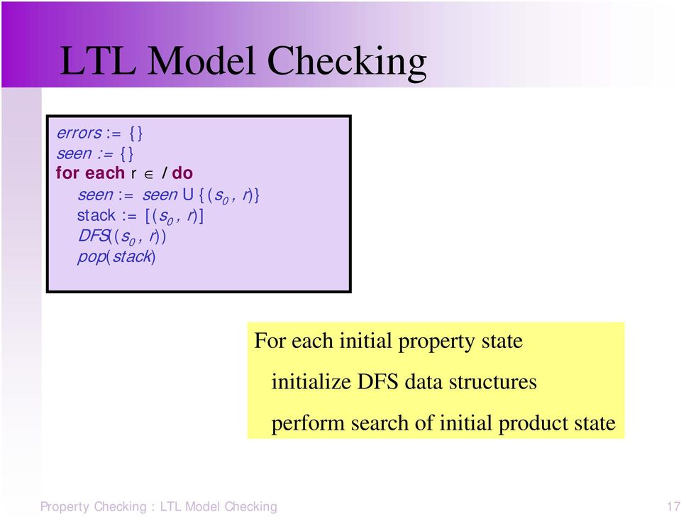 each initial property state initialize DFS data structures perform