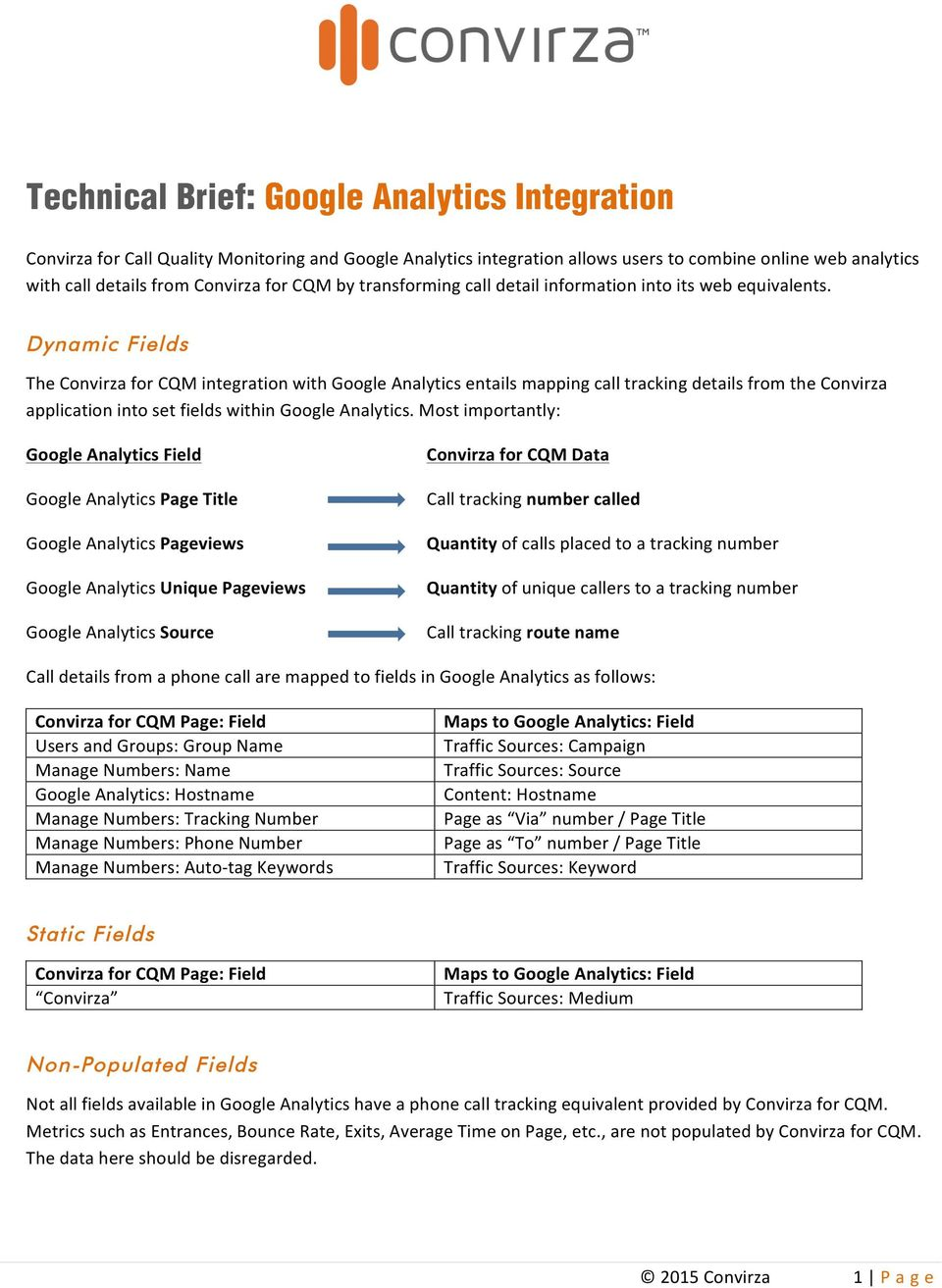 Dynamic Fields The Convirza for CQM integration with Google Analytics entails mapping call tracking details from the Convirza application into set fields within Google Analytics.