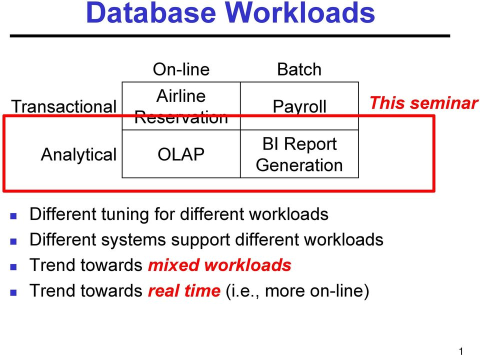 tuning for different workloads Different systems support different