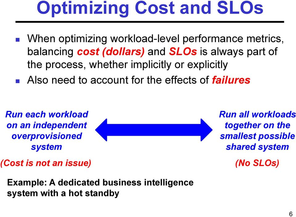 Run each workload on an independent overprovisioned system (Cost is not an issue) Run all workloads together on