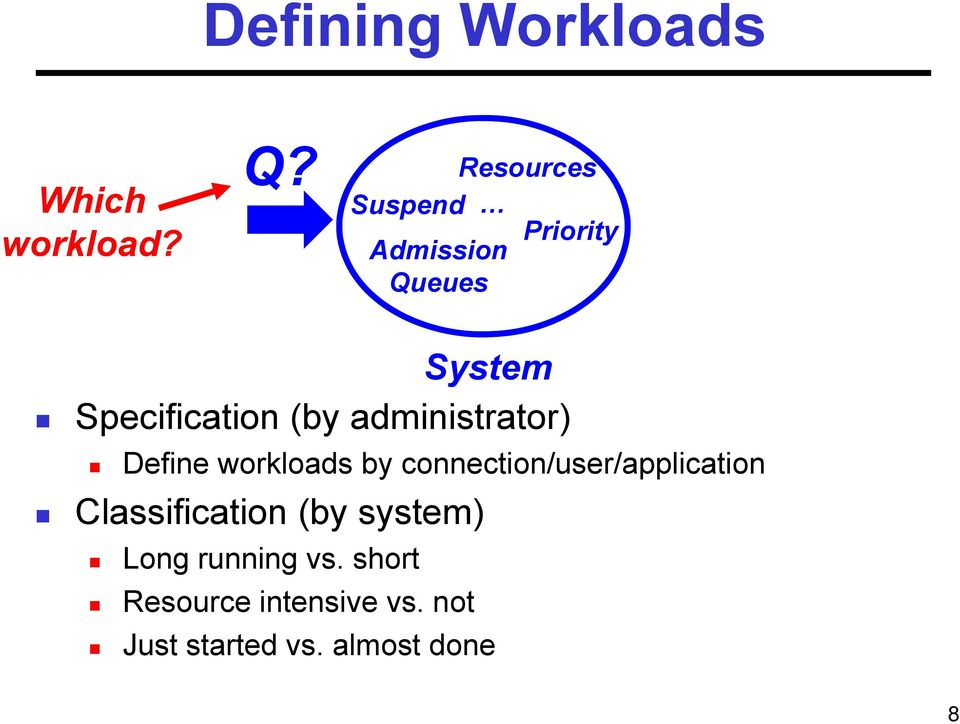 administrator) Define workloads by connection/user/application