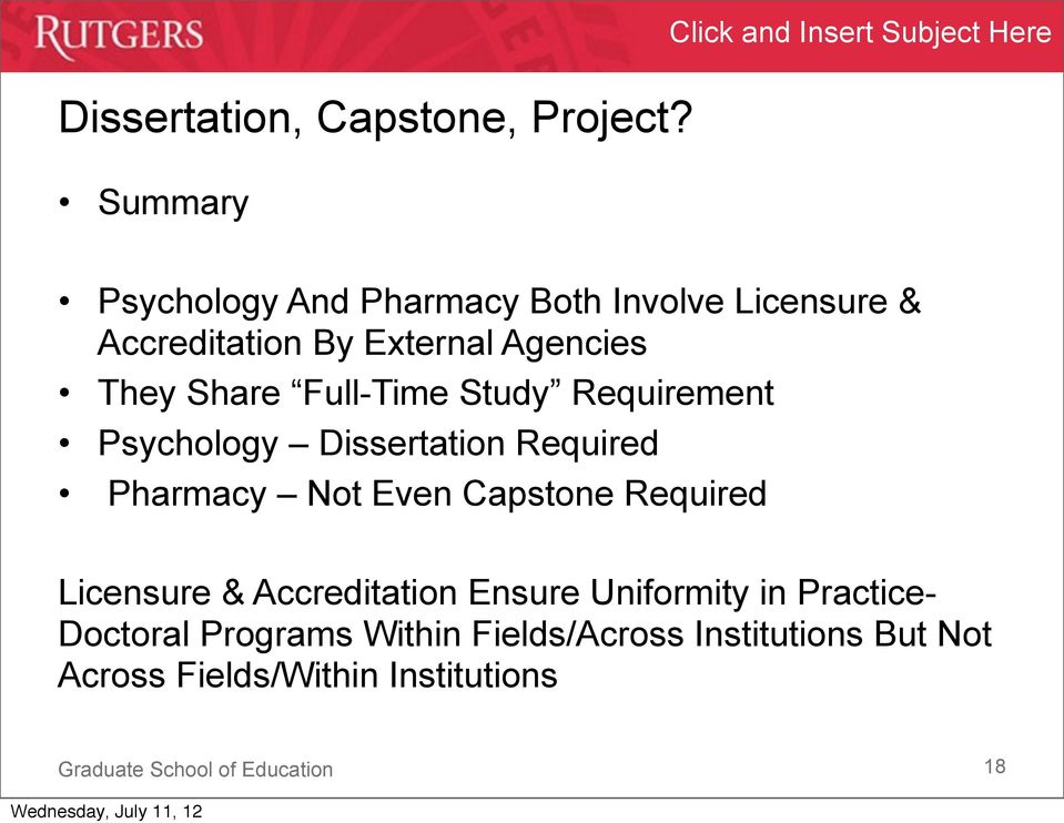 External Agencies They Share Full-Time Study Requirement Psychology Dissertation Required Pharmacy Not