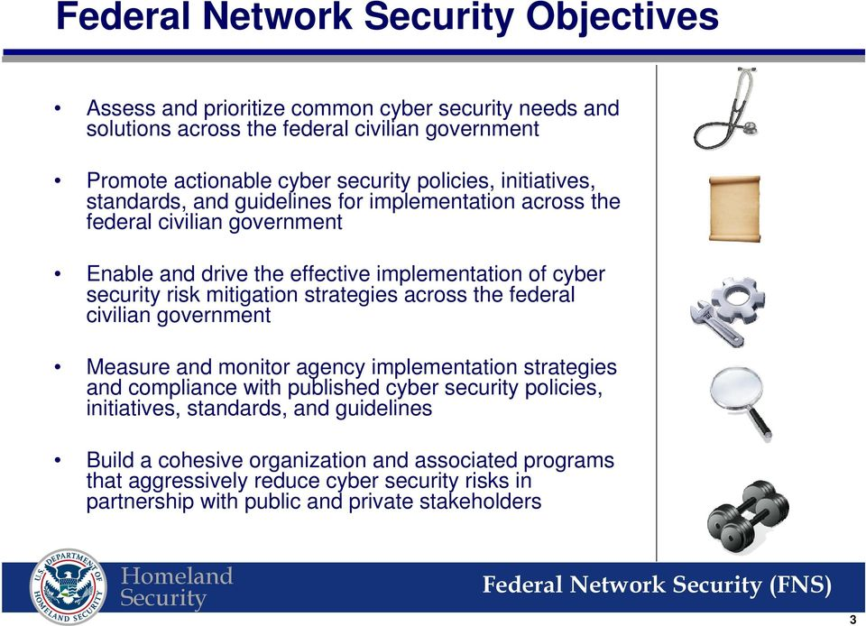 strategies across the federal civilian government Measure and monitor agency implementation strategies and compliance with published cyber security policies, initiatives,