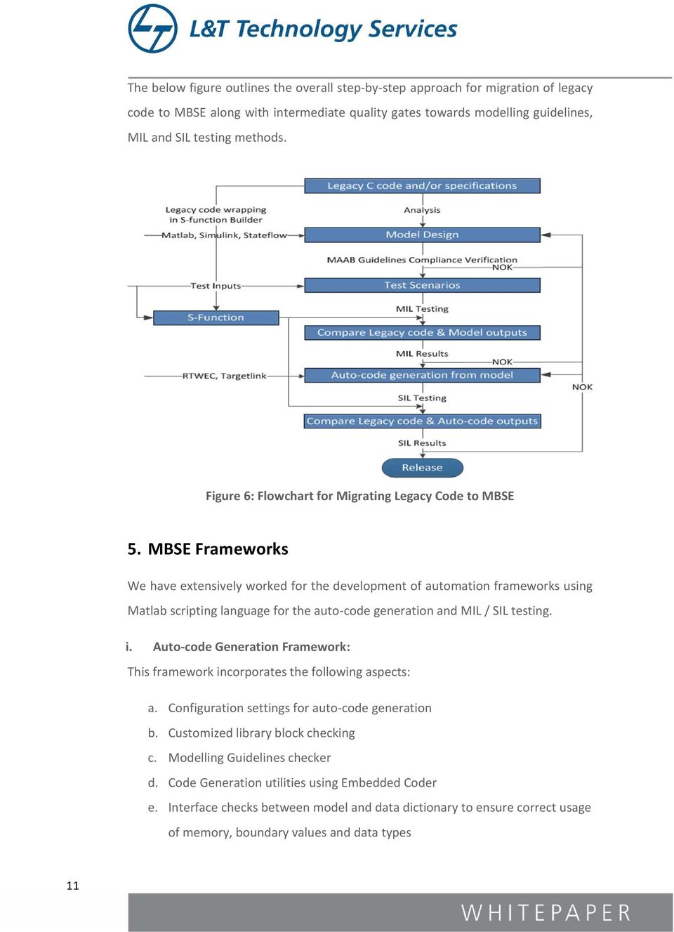MBSE Frameworks We have extensively worked for the development of automation frameworks using Matlab scripting language for the auto-code generation and MIL / SIL testing. i.