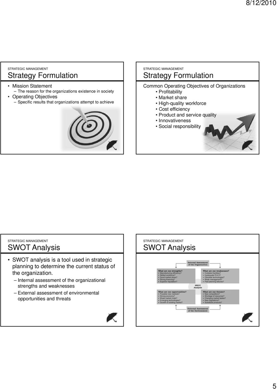 service quality Innovativeness Social responsibility SWOT Analysis SWOT Analysis SWOT analysis is a tool used in strategic planning to determine the current