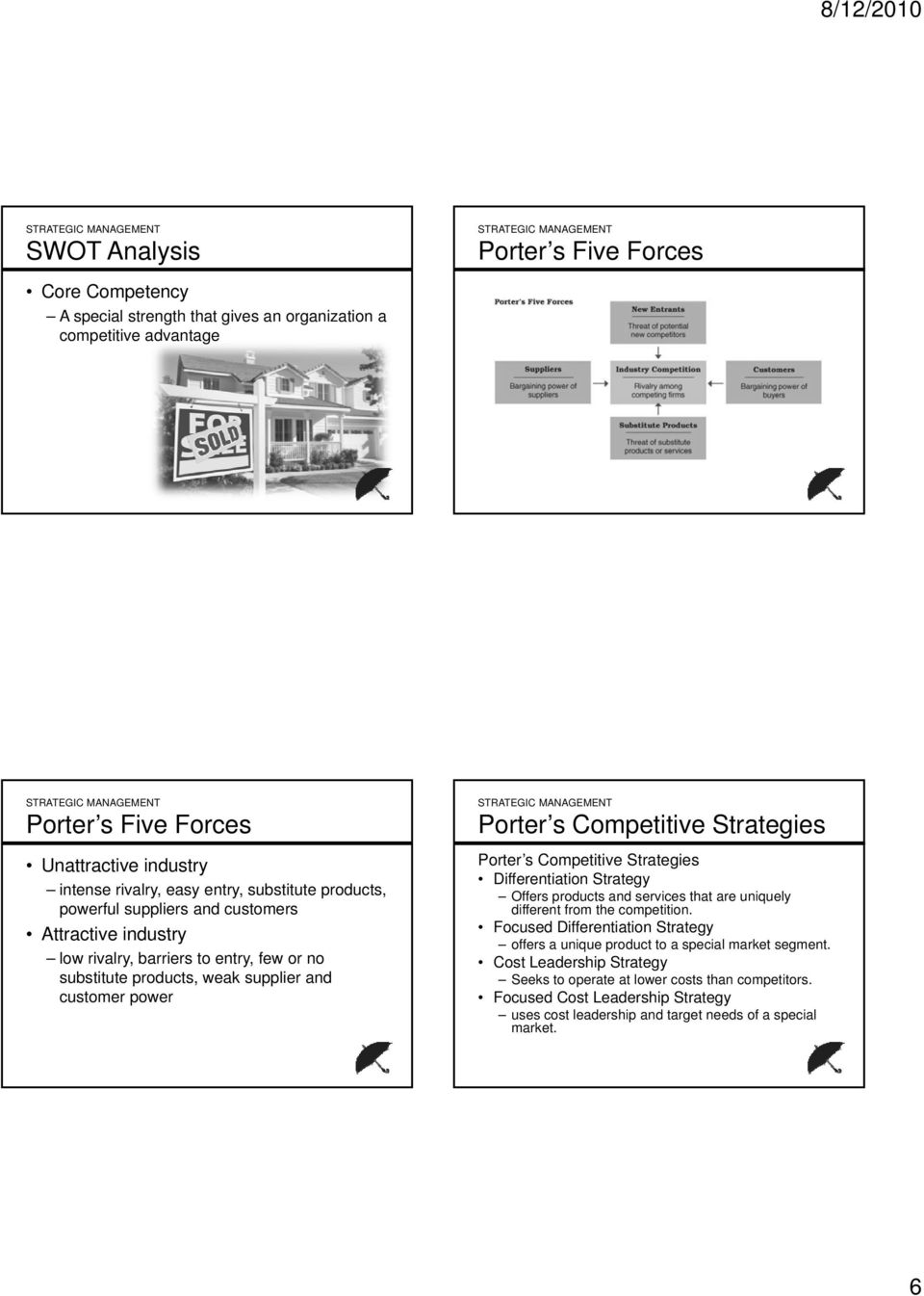 Strategies Porter s Competitive Strategies Differentiation Strategy Offers products and services that are uniquely different from the competition.