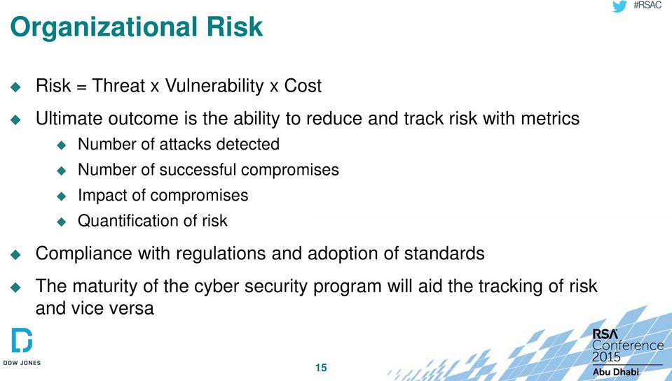 compromises Impact of compromises Quantification of risk Compliance with regulations and