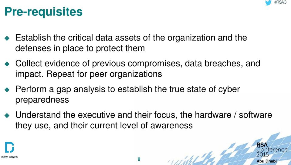 Repeat for peer organizations Perform a gap analysis to establish the true state of cyber