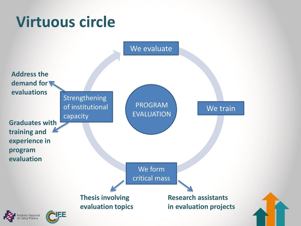 institutional capacity PROGRAM EVALUATION We form critical mass We train