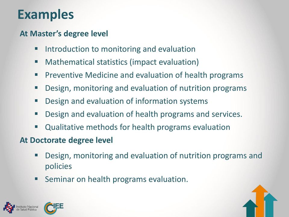 evaluation of information systems Design and evaluation of health programs and services.