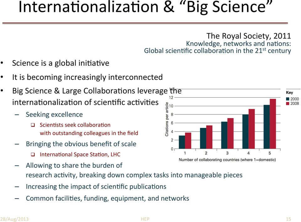 Interna4onal%Space%Sta4on,%LHC% The%Royal%Society,%2011% Knowledge,%networks%and%na4ons:%% Global%scien4fic%collabora4on%in%the%21 st %century%