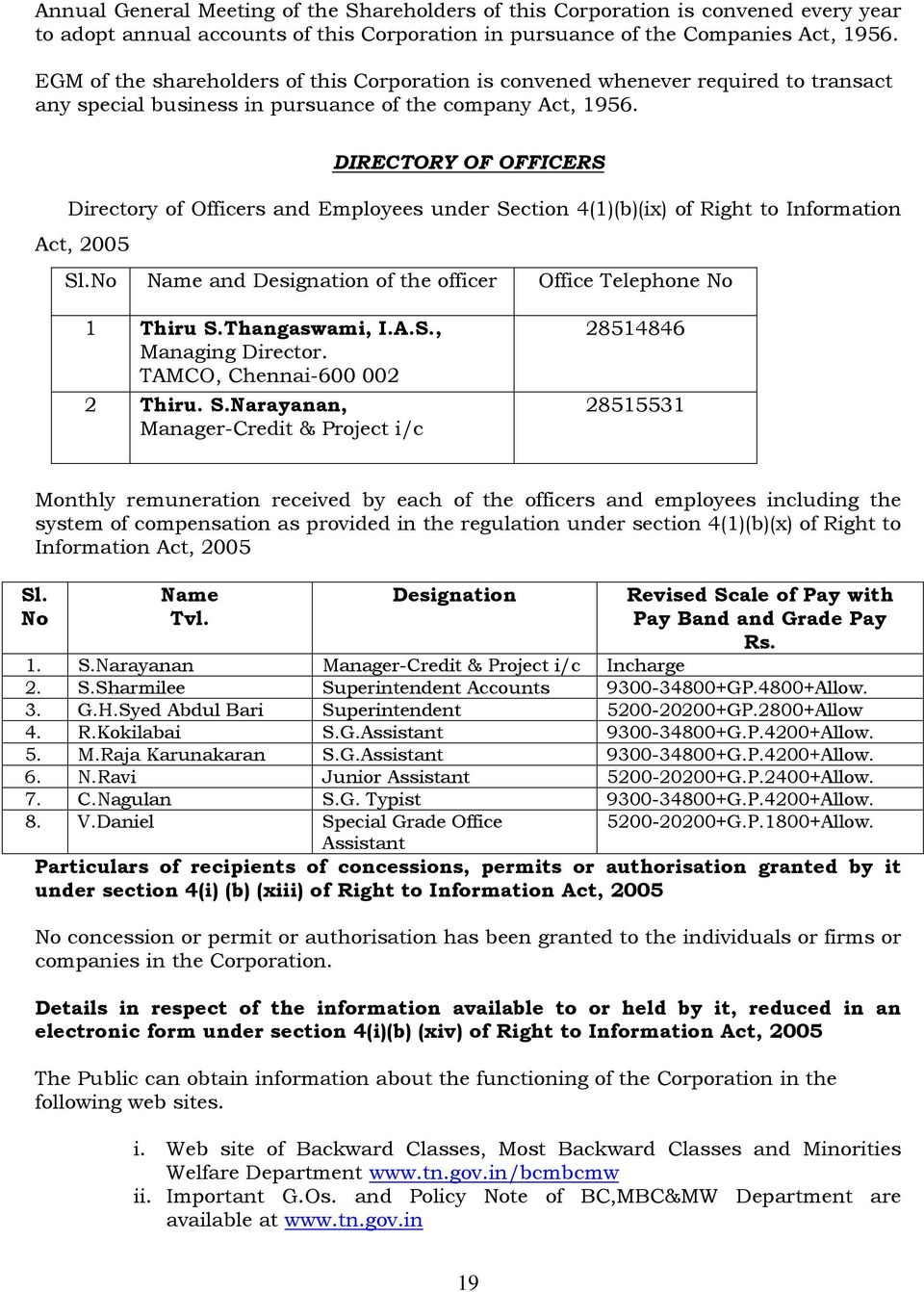 DIRECTORY OF OFFICERS Directory of Officers and Employees under Section 4(1)(b)(ix) of Right to Information Act, 2005 Sl.No Name and Designation of the officer Office Telephone No 1 Thiru S.