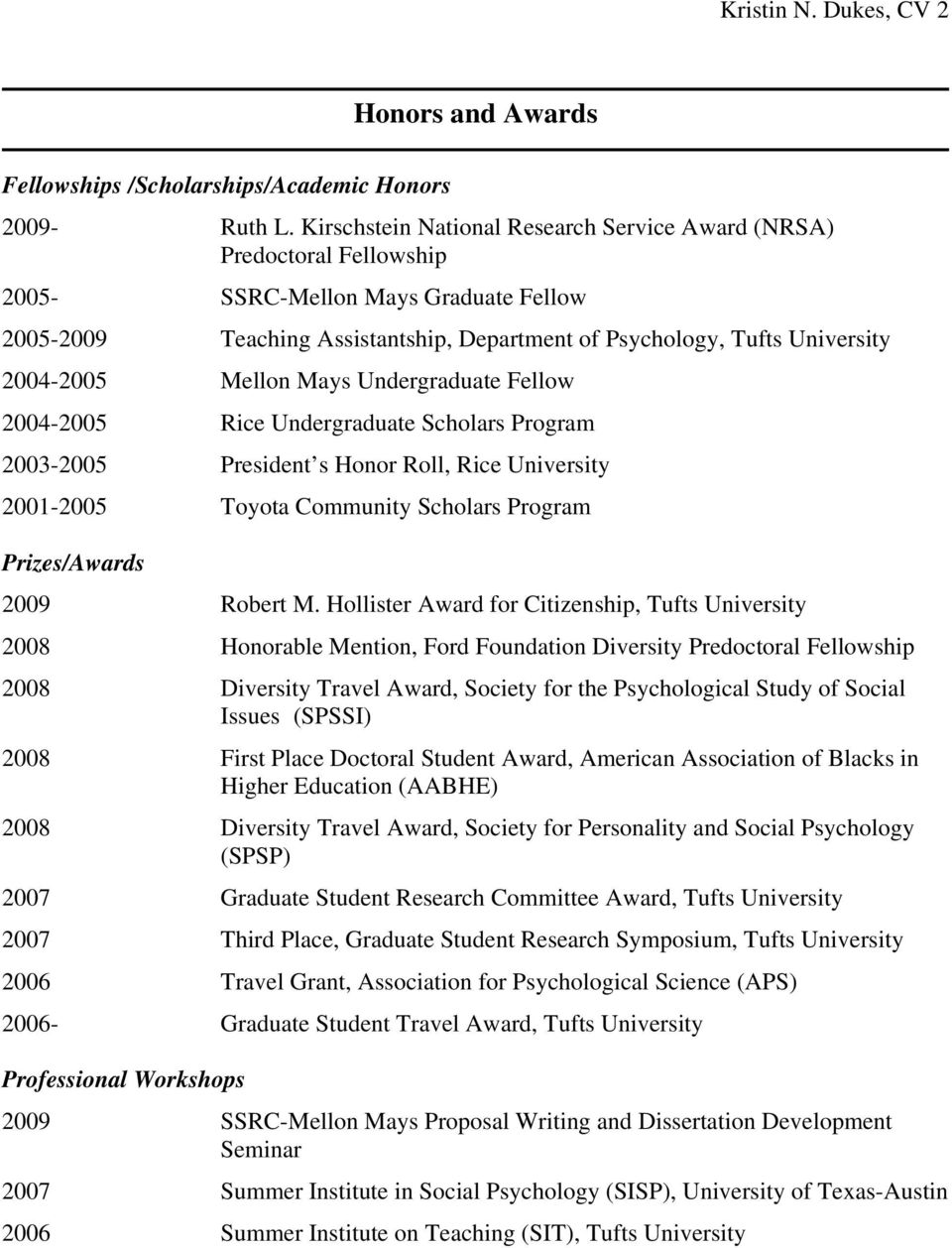 2004-2005 Rice Undergraduate Scholars Program 2003-2005 President s Honor Roll, Rice University 2001-2005 Toyota Community Scholars Program Prizes/Awards 2009 Robert M.