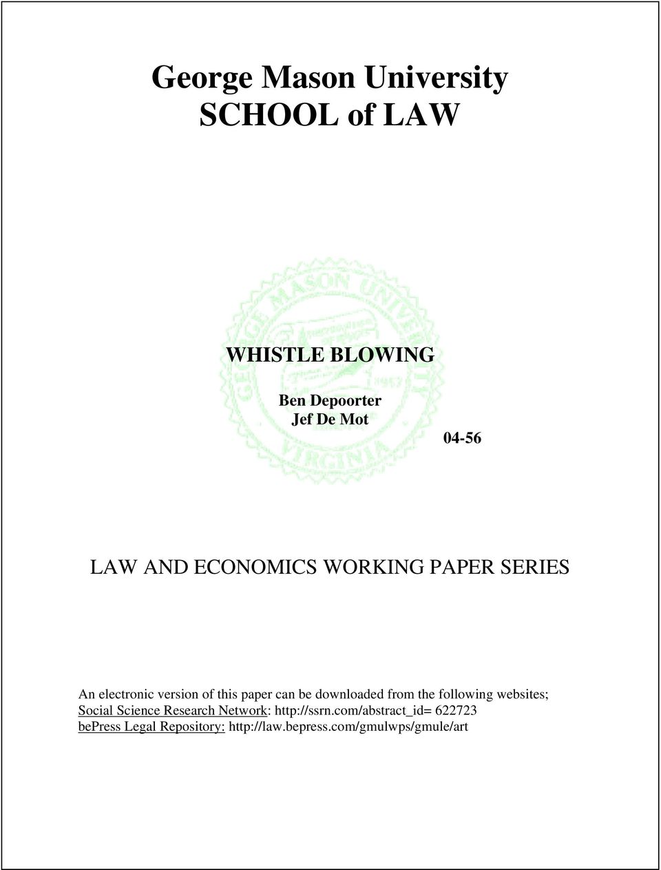 george mason university law and economics research paper series Research paper series ls 15-17 this paper is available on the social science research network george mason university law and economics research paper series.