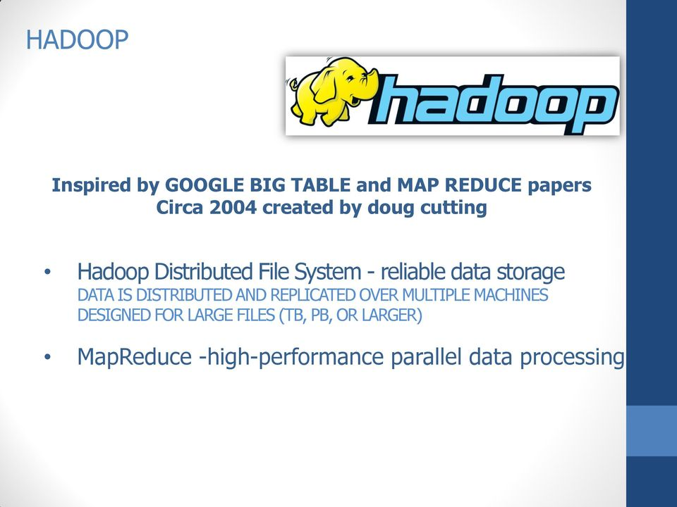 storage DATA IS DISTRIBUTED AND REPLICATED OVER MULTIPLE MACHINES DESIGNED