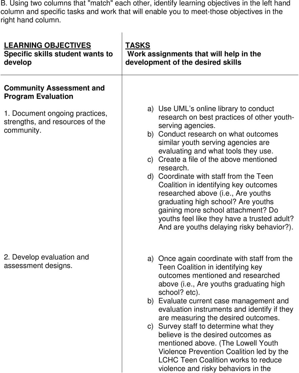 Document ongoing practices, strengths, and resources of the community. a) Use UML s online library to conduct research on best practices of other youthserving agencies.