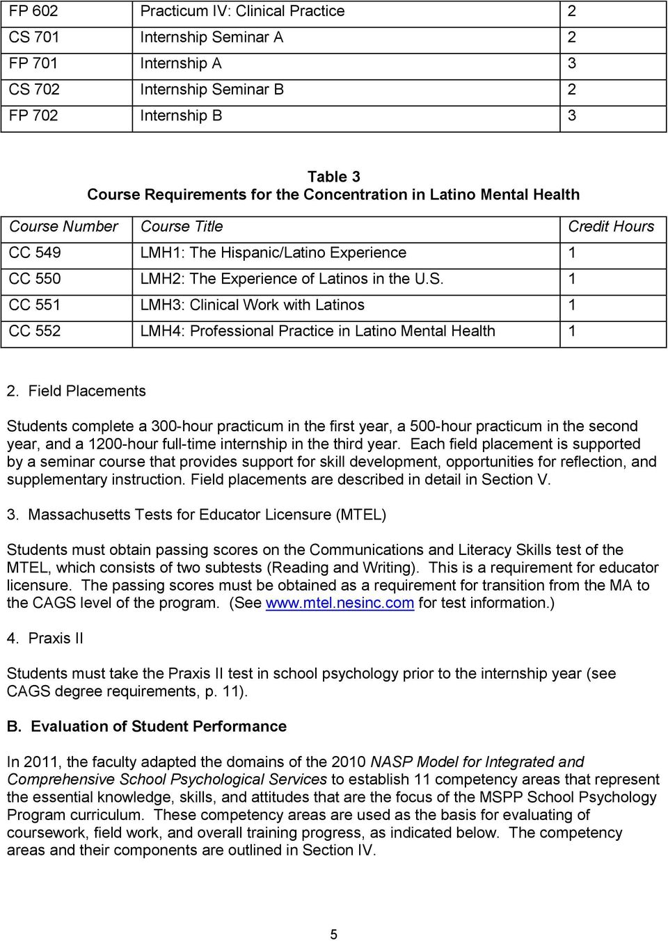 1 CC 551 LMH3: Clinical Work with Latinos 1 CC 552 LMH4: Professional Practice in Latino Mental Health 1 2.