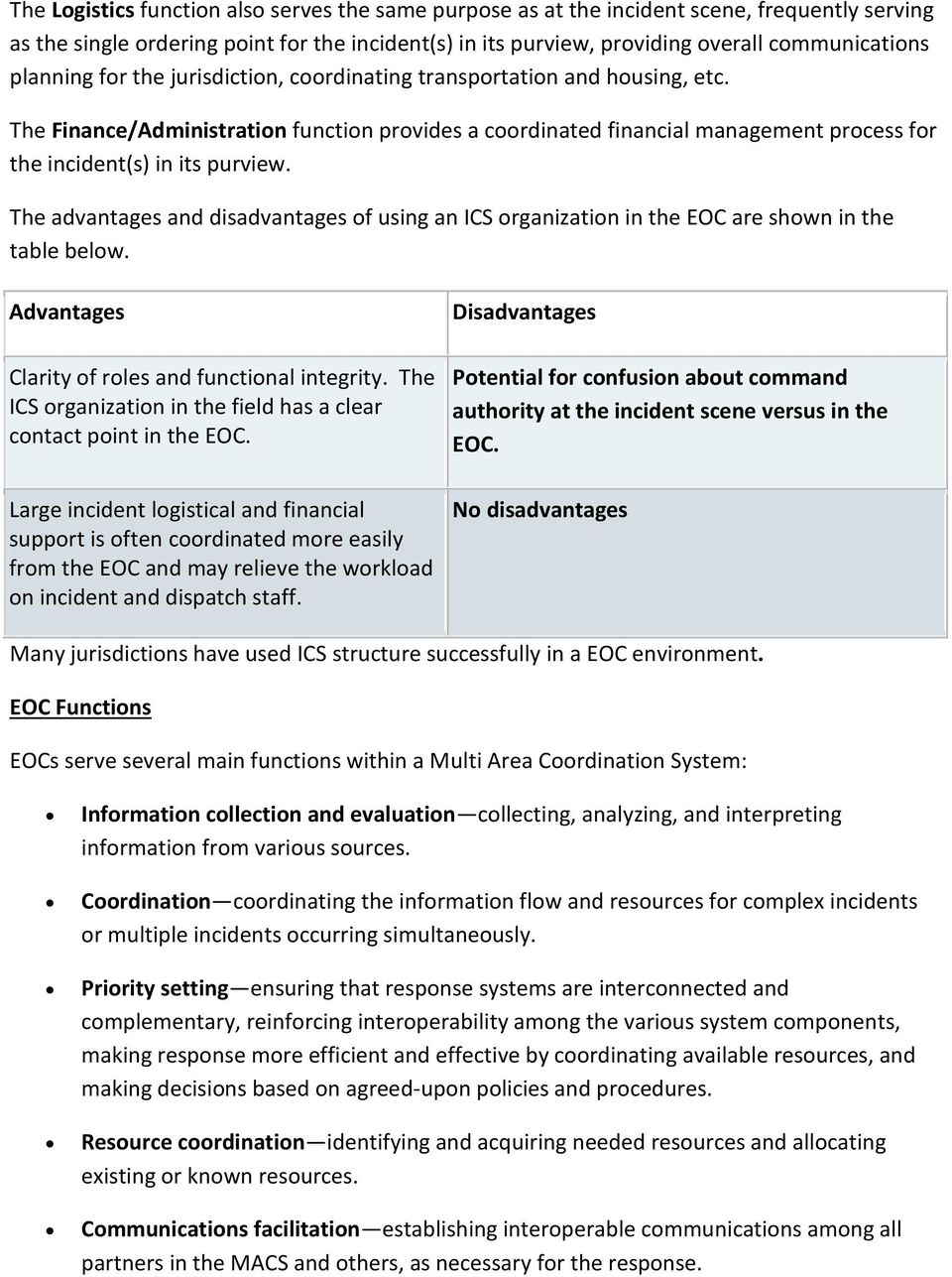 The advantages and disadvantages of using an ICS organization in the EOC are shown in the table below. Advantages Clarity of roles and functional integrity.