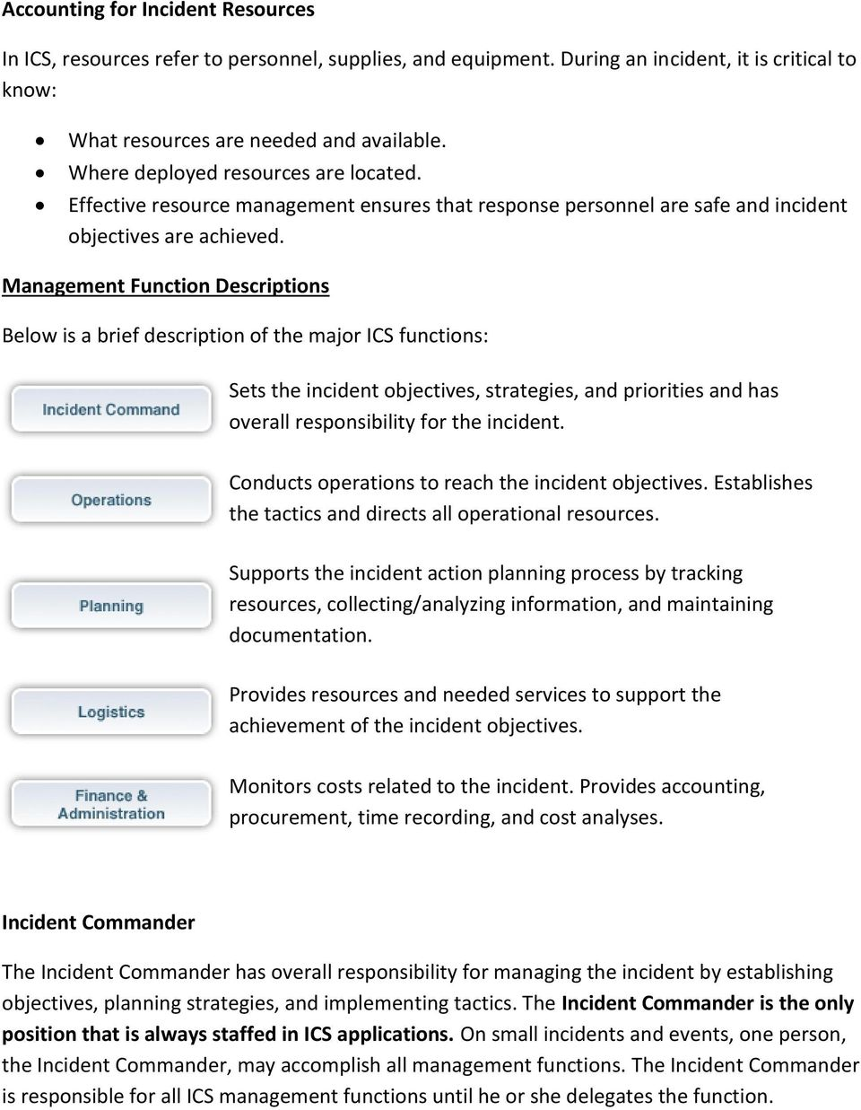 Management Function Descriptions Below is a brief description of the major ICS functions: Sets the incident objectives, strategies, and priorities and has overall responsibility for the incident.