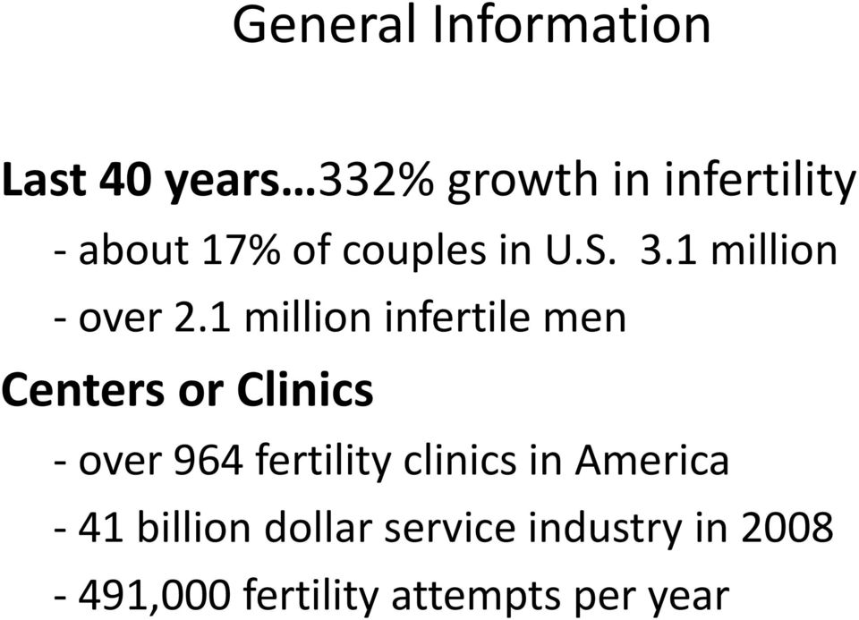 1 million infertile men Centers or Clinics - over 964 fertility