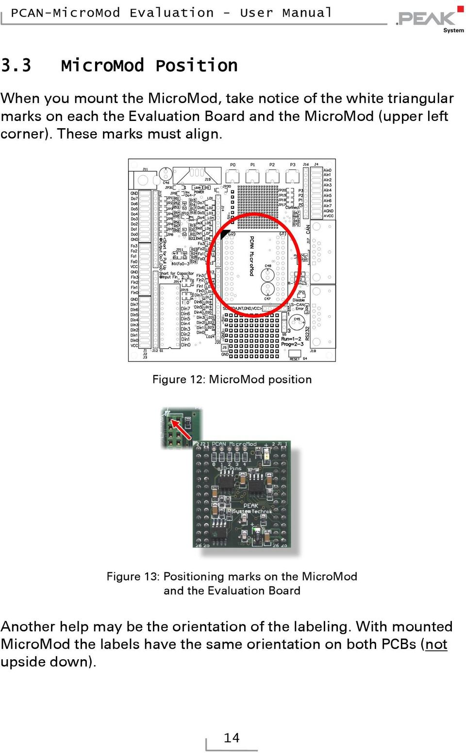 Figure : MicroMod position Figure : Positioning marks on the MicroMod and the Evaluation Board Another