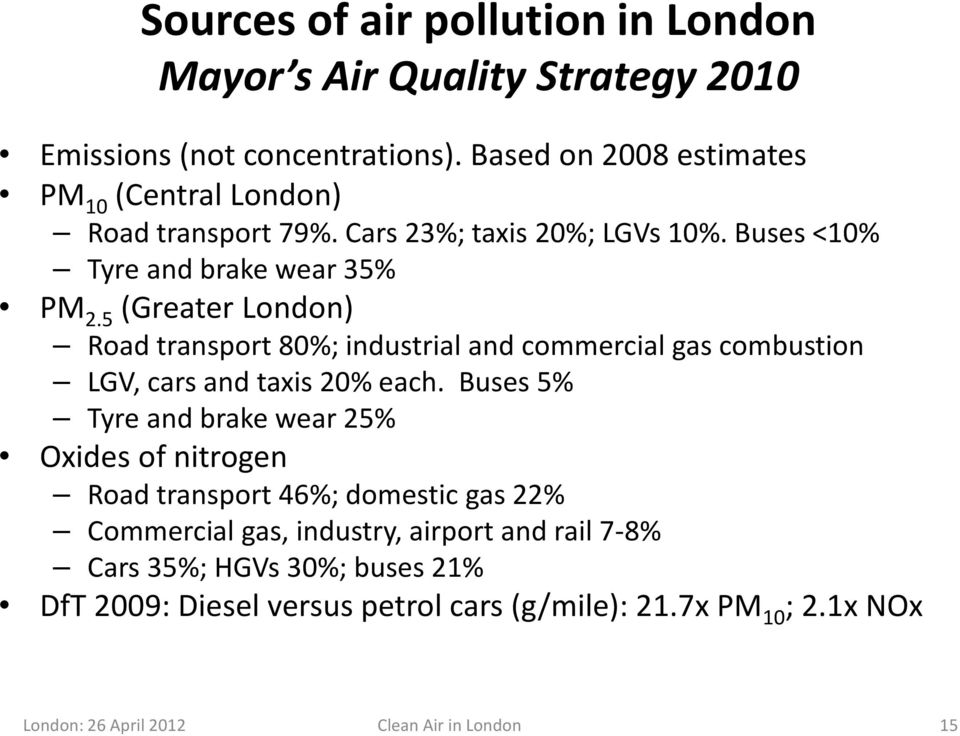 5 (Greater London) Road transport 80%; industrial and commercial gas combustion LGV, cars and taxis 20% each.