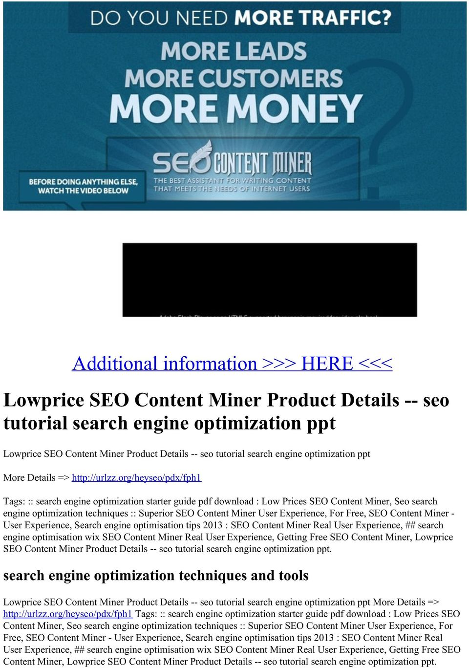 org/heyseo/pdx/fph1 Tags: :: search engine optimization starter guide pdf download : Low Prices SEO Content Miner, Seo search engine optimization techniques :: Superior SEO Content Miner User