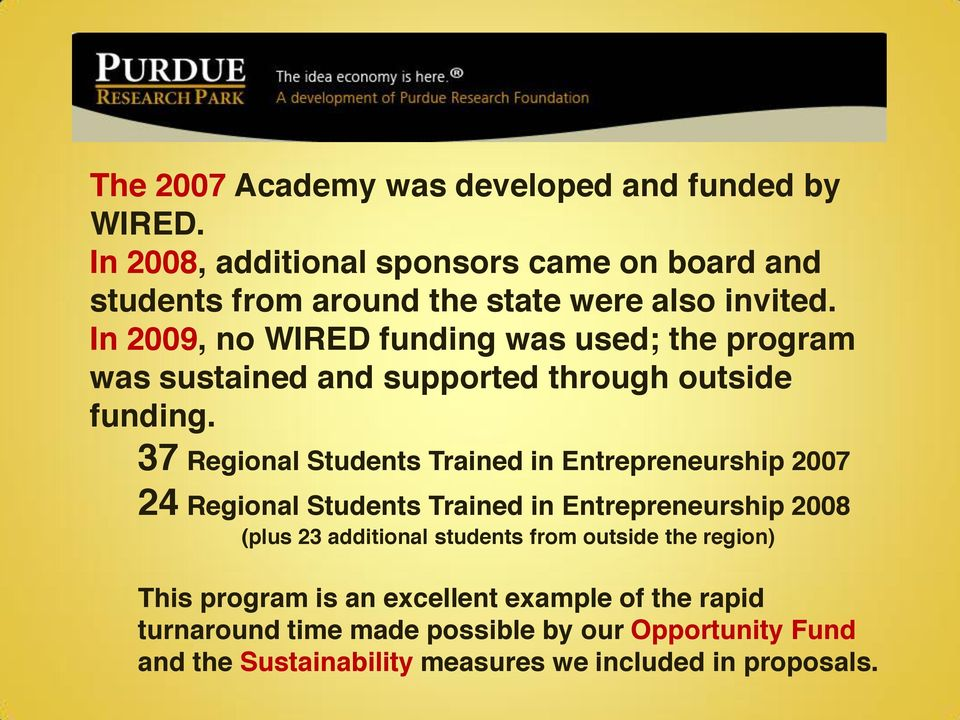In 2009, no WIRED funding was used; the program was sustained and supported through outside funding.