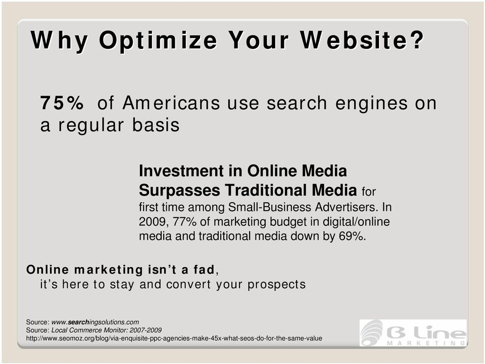 Small-Business Advertisers. In 2009, 77% of marketing budget in digital/online media and traditional media down by 69%.