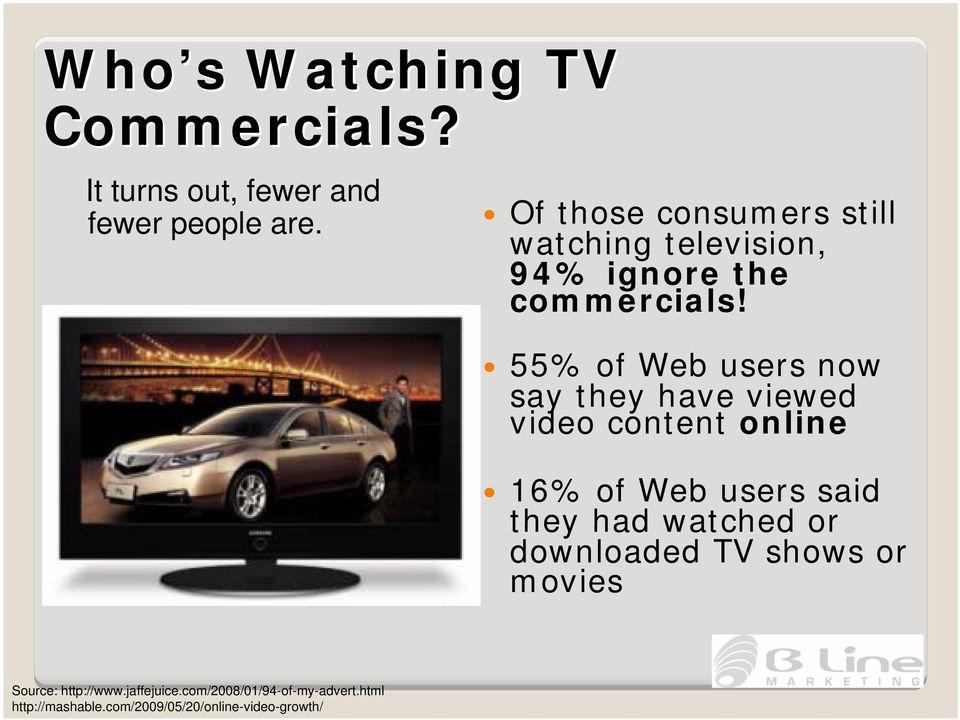 55% of Web users now say they have viewed video content online 16% of Web users said they had