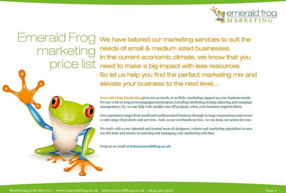 So let us help you find the perfect mix and elevate your business to the next level Emerald Frog Marketing gives you as much, or as little, support as your business needs.