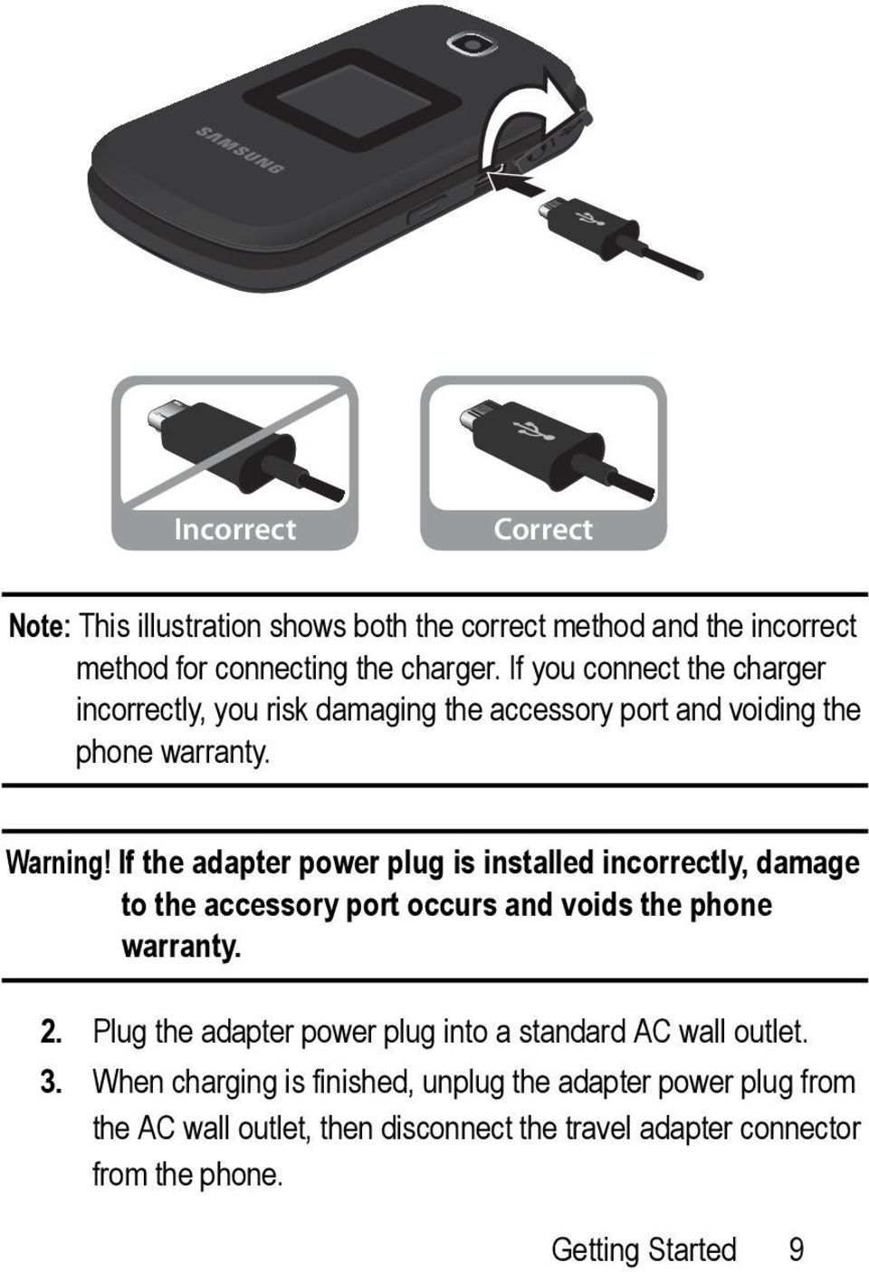 If the adapter power plug is installed incorrectly, damage to the accessory port occurs and voids the phone warranty. 2.