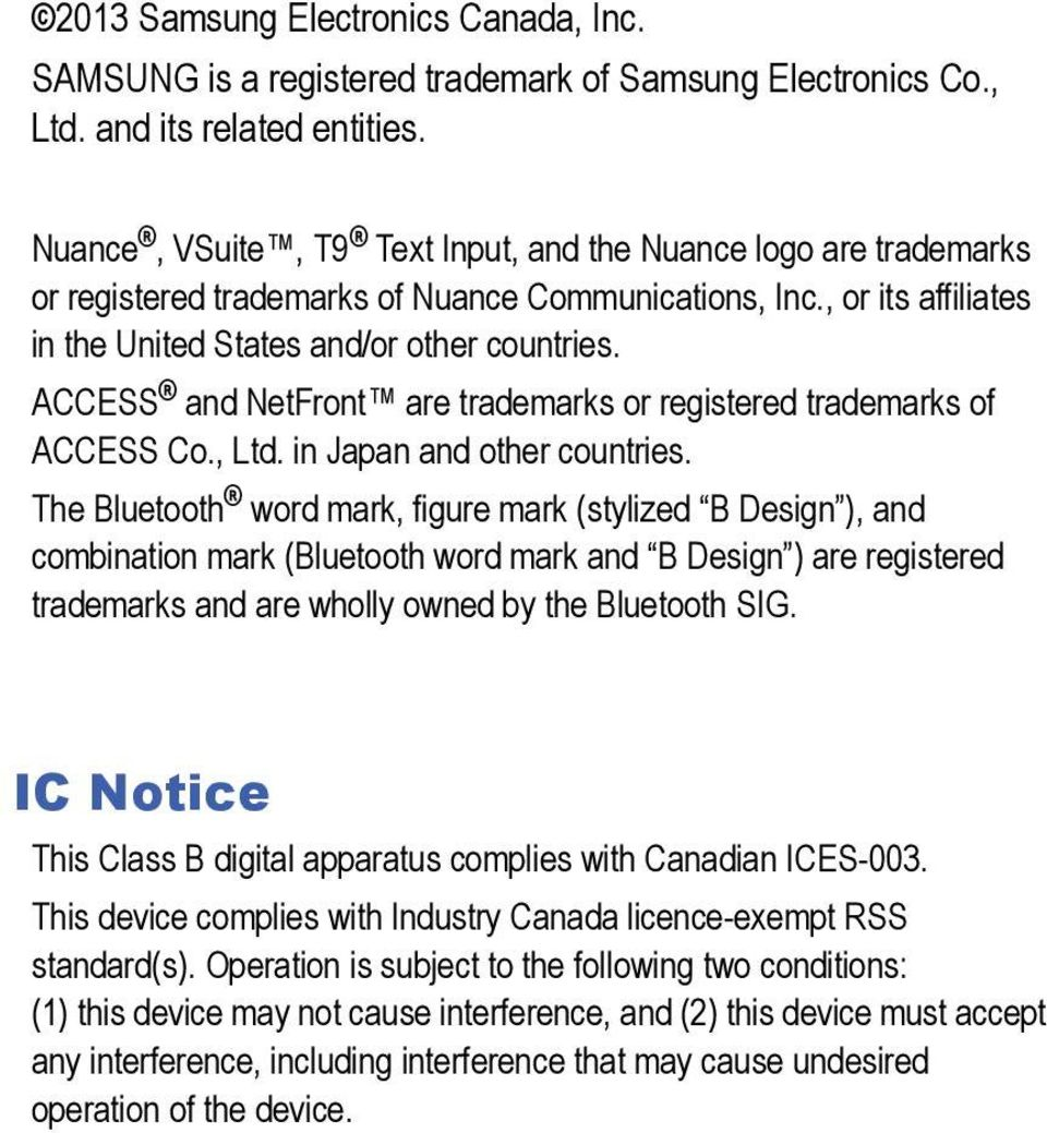 ACCESS and NetFront are trademarks or registered trademarks of ACCESS Co., Ltd. in Japan and other countries.