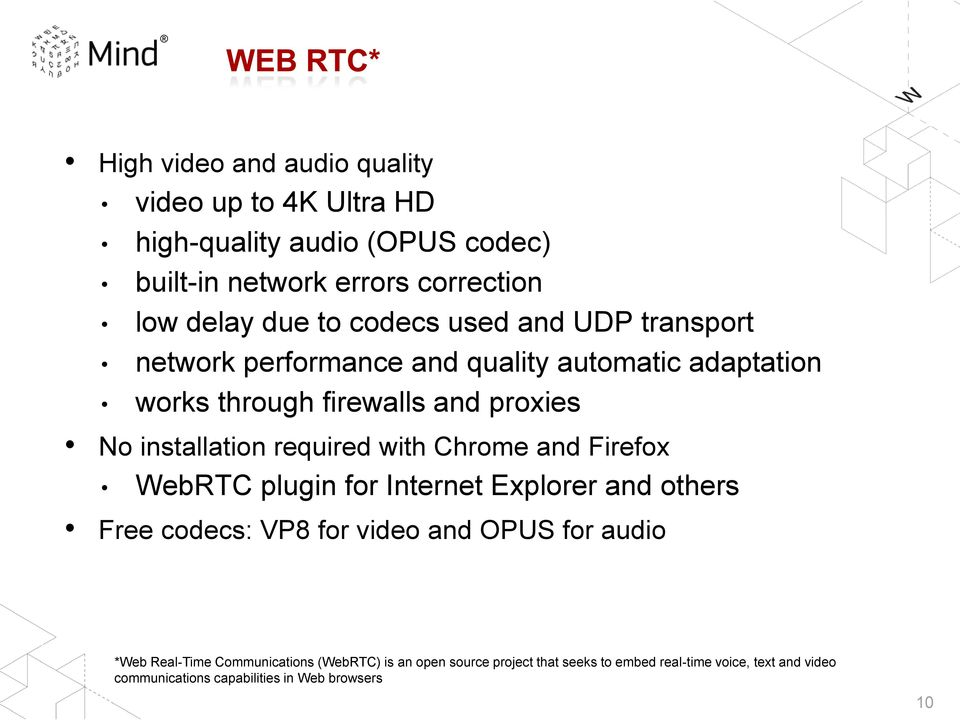 required with Chrome and Firefox WebRTC plugin for Internet Explorer and others Free codecs: VP8 for video and OPUS for audio *Web Real-Time