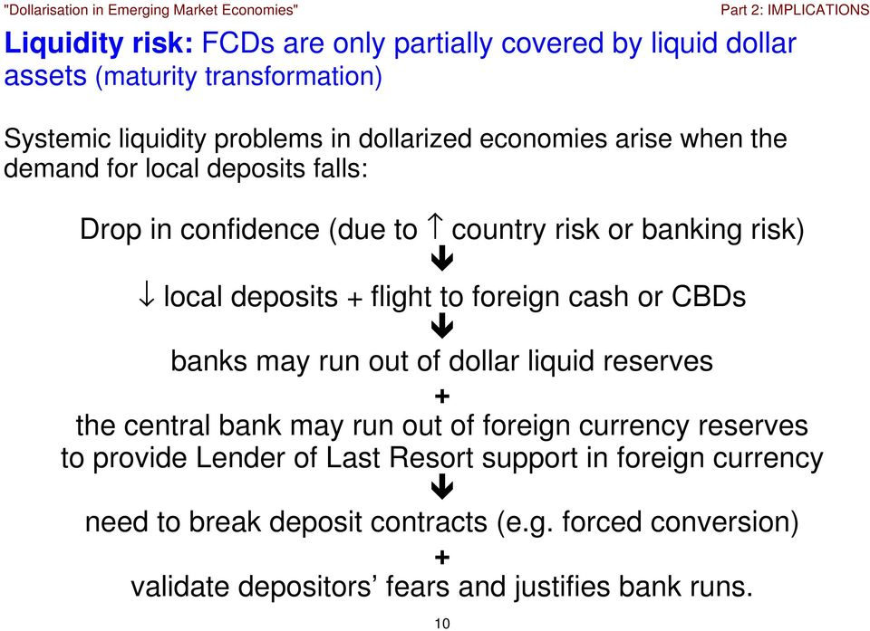 foreign cash or CBDs banks may run out of dollar liquid reserves + the central bank may run out of foreign currency reserves to provide Lender