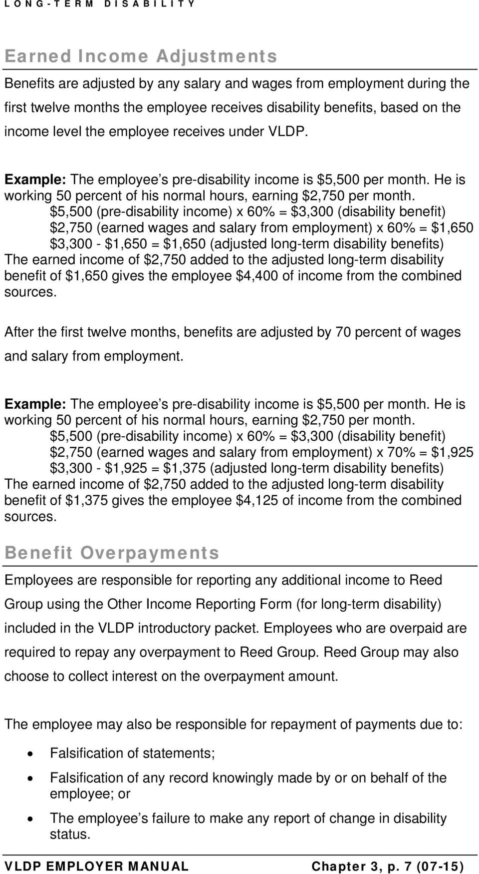 $5,500 (pre-disability income) x 60% = $3,300 (disability benefit) $2,750 (earned wages and salary from employment) x 60% = $1,650 $3,300 - $1,650 = $1,650 (adjusted long-term disability benefits)