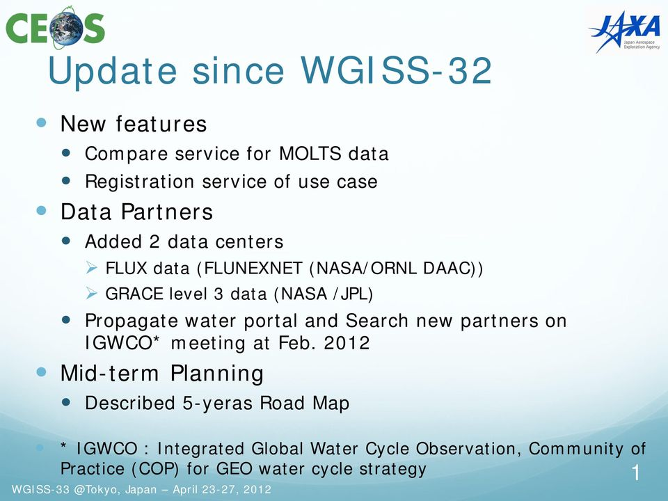 water portal and Search new partners on IGWCO* meeting at Feb.